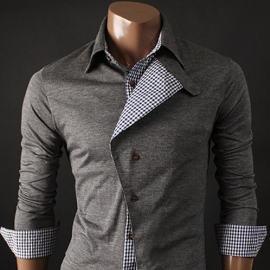 New Unique Style Mens Casual Slim fit Dress Shirts Grey Medium