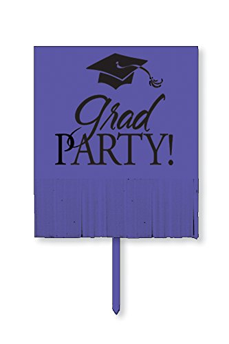 Creative Converting Yard Sign with Fringe, Purple Grad