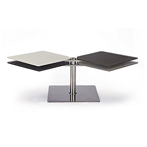 Tavolino articolata Assia, Vetro, grigio, 60 x 50 x 42 cm