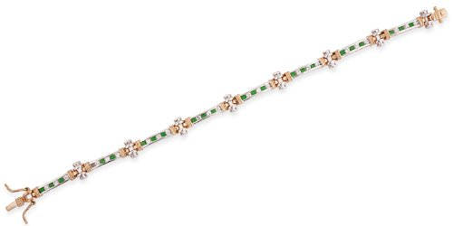 Two-Tone Round Channel Set C.Z. Emerald Diamond Bracelet (Nice Holiday Gift, Special Black Firday Sale)