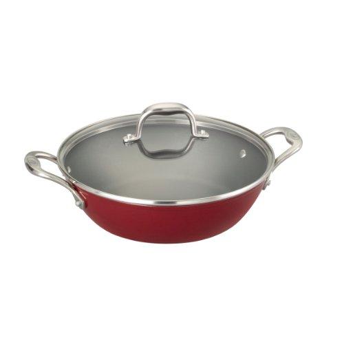 Guy Fieri 5099875 Light Weight Cast Iron Braiser Pan, 5-Quart, Red front-439802