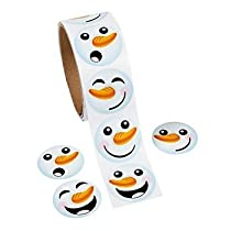 1 Roll ~ Happy Snowman Face Stickers ~ Approx. 1.5