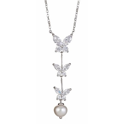Butterfly with Pearl Drop Necklace in Sterling Silver