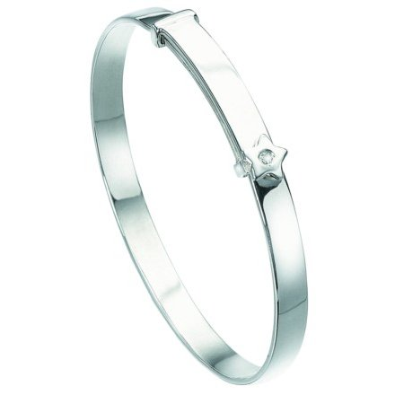 D for diamond Children's Silver Diamond Star Baby Bangle