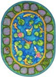 "Joy Carpets Kid Essentials Early Childhood Oval Maria's Garden Rug, Multicolored, 10'9"" x 13'2"""