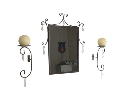 Hanging Crystals Decoration Design Mirror And Sconce Candleholder Set