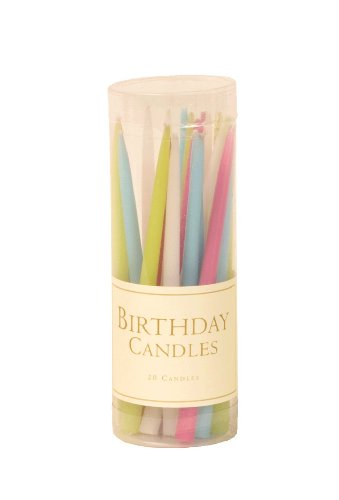 Entertaining with Caspari 3-Inch Birthday Dripless, Smokeless, Unscented Candles, Pastels, Set of 20