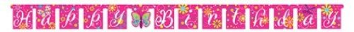 Creative Converting Butterfly Sparkle Jointed Happy Birthday Banner