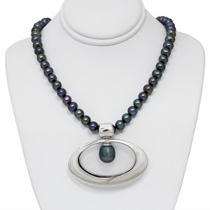 Black Freshwater Pearl Strand with Wide Oval Sterling Silver Enhancer Pendant with Drop Pearl Accent