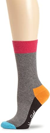 Happy Socks Women's Happy Socks Womens Color Block Sock, Charcoal, 9-11