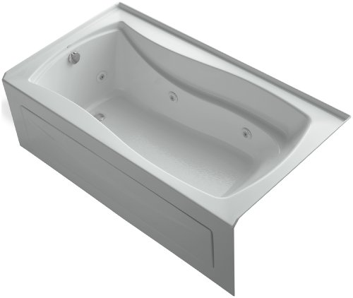 KOHLER K-1224-LA-95 Mariposa 66-Inch X 36-Inch Alcove Whirlpool with Integral Apron and Left-Hand Drain, Ice Grey