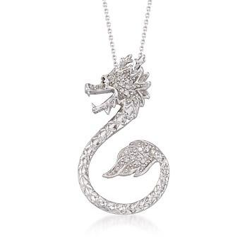 .20 ct. t.w. CZ Dragon Pendant Necklace In Sterling Silver. 18″