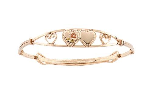 14k Yellow Gold Filled Children's Engraved Double Heart Adjustable Bracelet