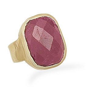 Sterling Silver Rough-Cut Ruby Ring with 14 Karat Gold Plated Matte Finish Band / Size 8