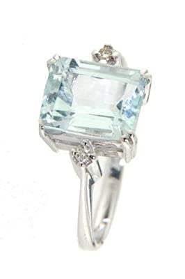 Mia Gioielli - Blue Ring , 18ct White Gold engagement Ring with Aquamarine kt 2.90 and Diamonds 4pts G/VS, Ringsize O , F-07134-0B00