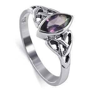 Sterling Silver Marquise Shaped Amethyst Cubic Zirconia with Solitaire Celtic Endless Knot Design Polished Finish 2mm Band Ring Size 7