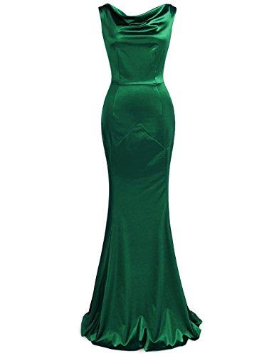 MUXXN Women's 30s Brief Elegant Mermaid Evening Dress (M, Green)