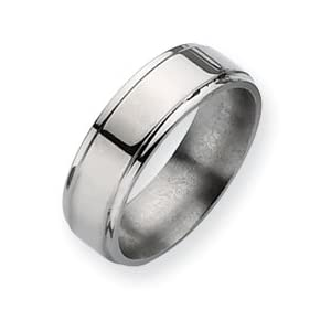 Titanium Ridged Edge 7mm Polished Band Ring