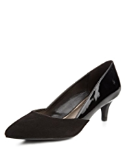 M&S Collection Wide Fit Pointed Toe Mid Heel Court Shoes