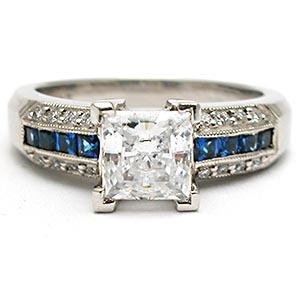 Tacori Diamond & Blue Sapphire Engagement Ring Solid Platinum Semi Mount