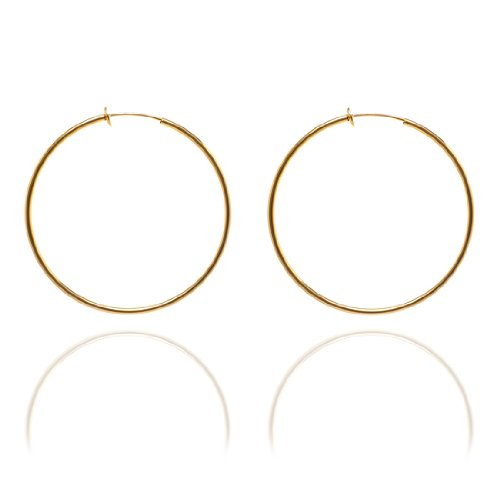 Sexy Spring Loaded Gold Tone Hoops - 6cm