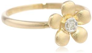 10k Yellow Gold Matte Diamond Flower Ring, Size 6