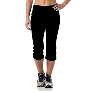 Alki'i Yoga Capri with Foldover waistband, Black M