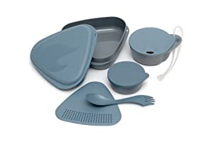 Light My Fire 6-Piece BPA-Free Outdoor Meal Kit with Plate, Bowl, Cup, Cutting Board, Container and Spork - Blue