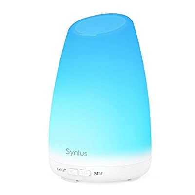 Syntus 150ml Essential Oil Diffuser Portable Ultrasonic Aromatherapy Diffusers with 7 Changeable Colored LED Lights, Adjustable Mist Mode and Waterless Auto Shut-off