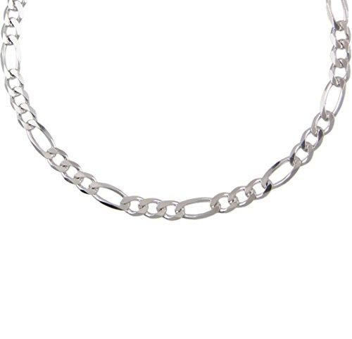 Collana da uomo, argento 925/1000, maglia Figaro, alternata 1 a 3