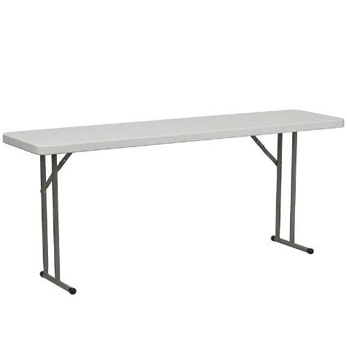 FlashFurniture DAD-YCZ-180-GW-GG 18 by 72-Inch Granite White Plastic Folding Training Table