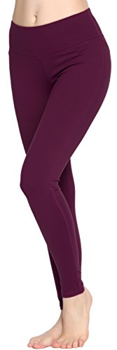 Women Power Flex Yoga Pants Workout Running Leggings - All Colors Plum L