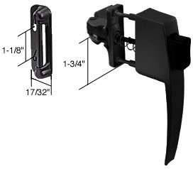 """C.R. Laurence K5007 Crl Black Screen And Storm Door Push Button Latch With 1-3/4"""" Screw Holes front-559563"""