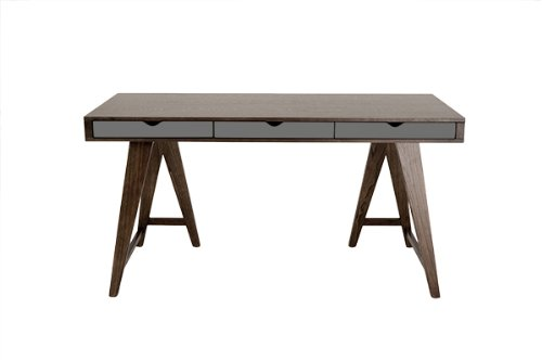 Euro Style Daniel Desk, 59-Inch by 30-Inch, Walnut/Gray