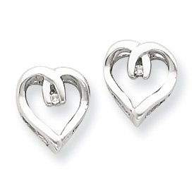Sterling Silver Rhodium Diamond Heart Post Earrings - JewelryWeb