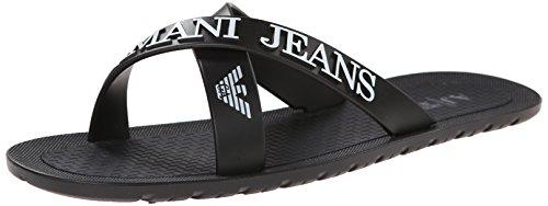 Armani Jeans0659769 - Sandali a Punta Aperta Uomo , Nero (Schwarz (NERO - BLACK 12)), 43