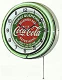 "COCA COLA 18"" DOUBLE NEON LIGHT CHROME CLOCK BOTTLE SIGN DISTRESSED VINTAGE STYLE GREEN/RED"