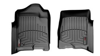 2008 - 2013 Chevy Silverado 1500 Crew Cab Double Cab Front Set - WeatherTech Custom Floor Mats Liners - Black (Weathertech Floor Mats Sierra compare prices)