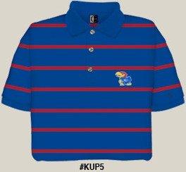 Kansas Jayhawks Striped Polo Shirt by Chiliwear LLC