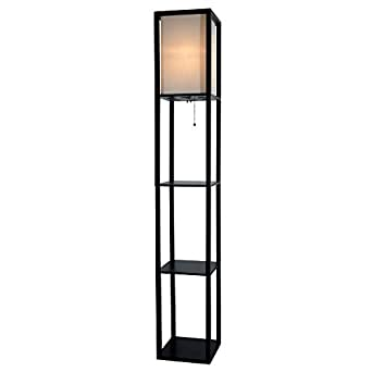 Lightaccents wooden floor lamp with white linen shade for Amazon floor lamp shelf