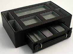 Valet Box  Pen and Watch Drawer Color: Black