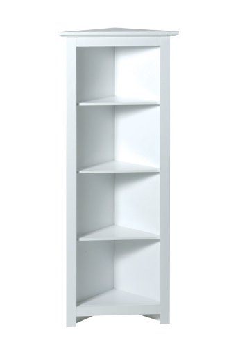 4 TIER WHITE WOOD CORNER SHELF UNIT BATHROOM CABINET