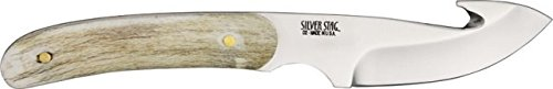 Silver Stag Guthook Fixed Knife, 7 1/8in., D2 tool steel guthook blade, Shed deer or elk antler