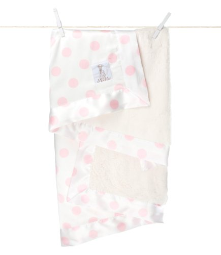 Little Giraffe Cream Dot Luxe Blanket - Pink