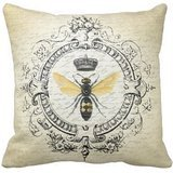 Jtartstore Modern Vintage French Queen Bee Polyester Throw Pillow Case 18 x 18 Inches (Vintage French Decor compare prices)