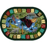 "Joy Carpets Kid Essentials Early Childhood Oval We Dig Dinosaurs Rug, Multicolored, 5'4"" x 7'8"""