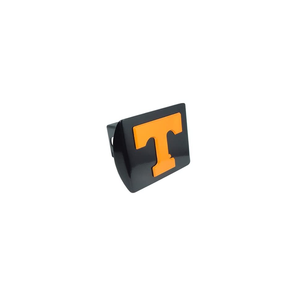 University of Tennessee Volunteers Black with Orange Power T Emblem NCAA College Sports Metal Trailer Hitch Cover Fits 2 Inch Auto Car Truck Receiver