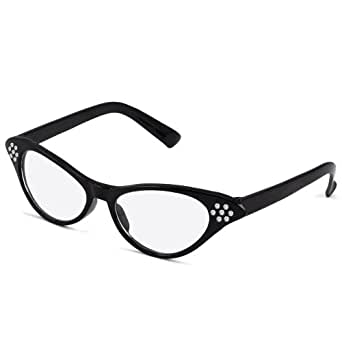 World Pride 50's 60's Grease Cateye Glasses Rhinestone for Fancy Dress (Black)