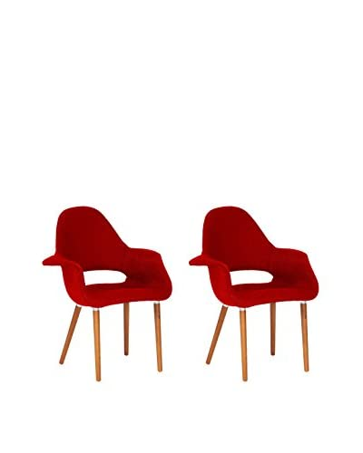 Baxton Studio Set of 2 Forza Twill Accent Chairs, Red