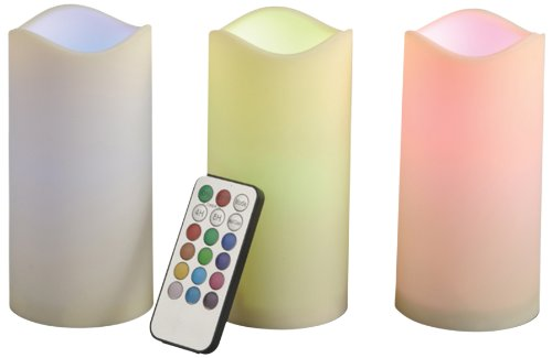 Gerson 3-Piece 6-Inch Indoor/Outdoor Candle Set With Color Changing Remote